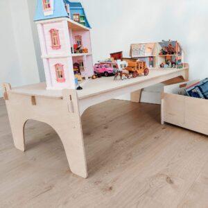 träförvaringslådor og lekbord